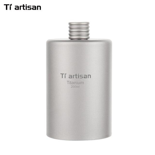 Tiartisan 200ml Titanium Cylindrical Drinkware Outdoor Portable Wine Flask Travel Ultralight Flagon Bottle Ta8601