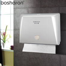Europe Style Sheet Paper Towel Dispenser Bathroom Tissue Box Button Opening Wall Mounted Plastic Houder Voor Multifold Paper