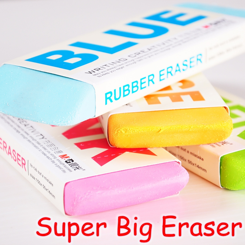 [M&G] Candy Color Kawaii School Supplies Pencil Rubber Erasers Cute Super Big Eraser 4 Colors Korean Stationery AXP96453