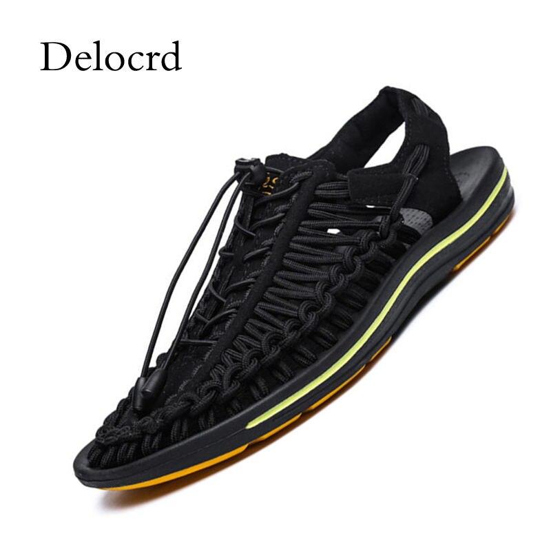 2018 New Handmade Woven Design Summer Sandals Men Shoes Comfortable Men Sandals Fashion Design Casual Men Sandals Shoes Delocrd