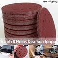 Бесплатная доставка, 10 шт., 5 дюймов, 125 мм, круглая наждачная бумага, восемь отверстий, дисковые песочные листы, зернистость 60-2000, шлифовальны...