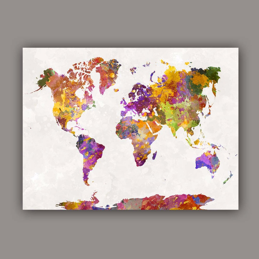 World map painting canvas prints large wall art europe vintage earth watercolor painting canvas art abstract colorful splash world map wall pictures for living room bedroom maps gumiabroncs Choice Image