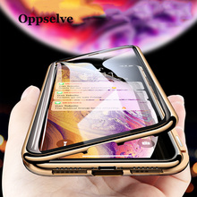 360 Double Sided Glass Magnetic Phone Case For iPhone XR XS Max X Metal Magnet Tempered Glass For iPhone 8 7 6 6S Plus Capinhas 360 full magnetic protection shell for iphone anti peep case metal frame double sided tempered glass for xs max 7 8 x xs xr