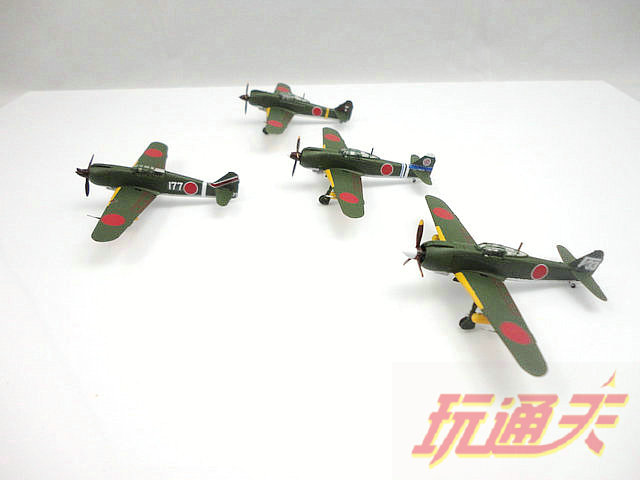 Japan World War II fighter 1: 144 aircraft pvc figure 4pcs/set need simply assemble