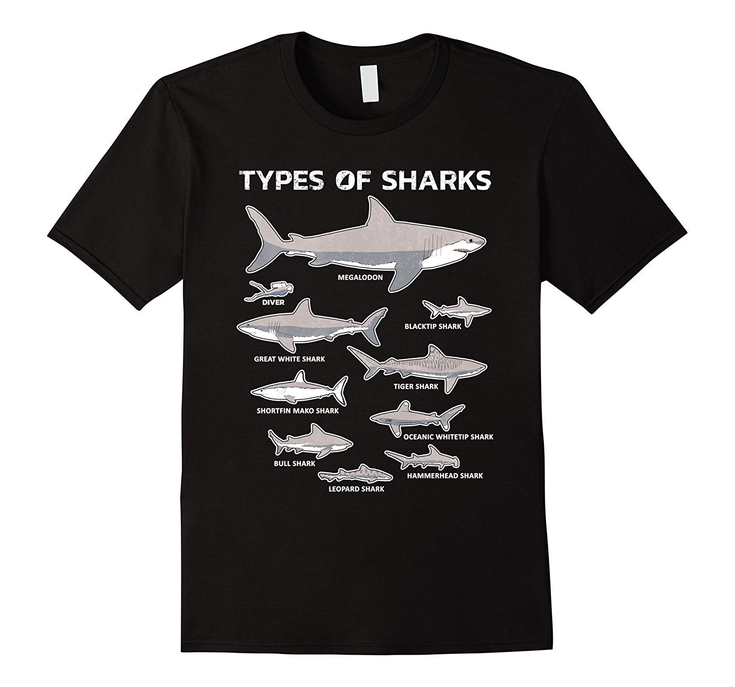 9 Types Of Sharks T-Shirt Educational Academic Ocean Tee Mens T Shirts 2018 FashionMens 100% Cotton Short Sleeve Print