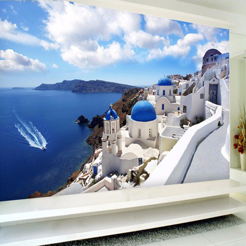Custom Any Size 3D Photo Wallpaper Seascape European Coastal Architecture Wall Large Mural Bedroom TV Background Wall Papers