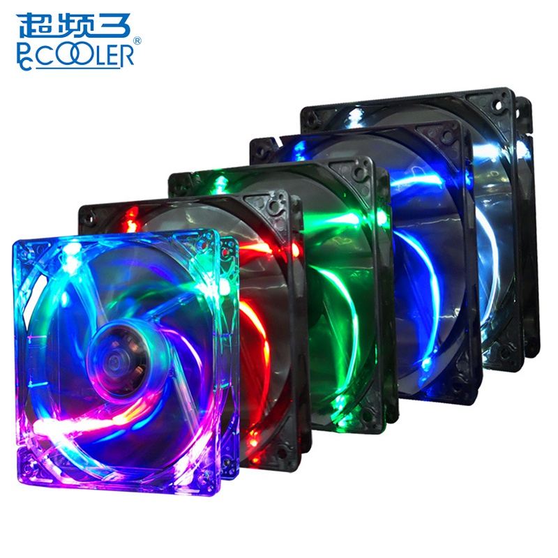 PCCOOLER 12cm 3 Pin CPU Cooling Fan Multiple Colors Colorful LED 120mm Silent Computer Case Cooler
