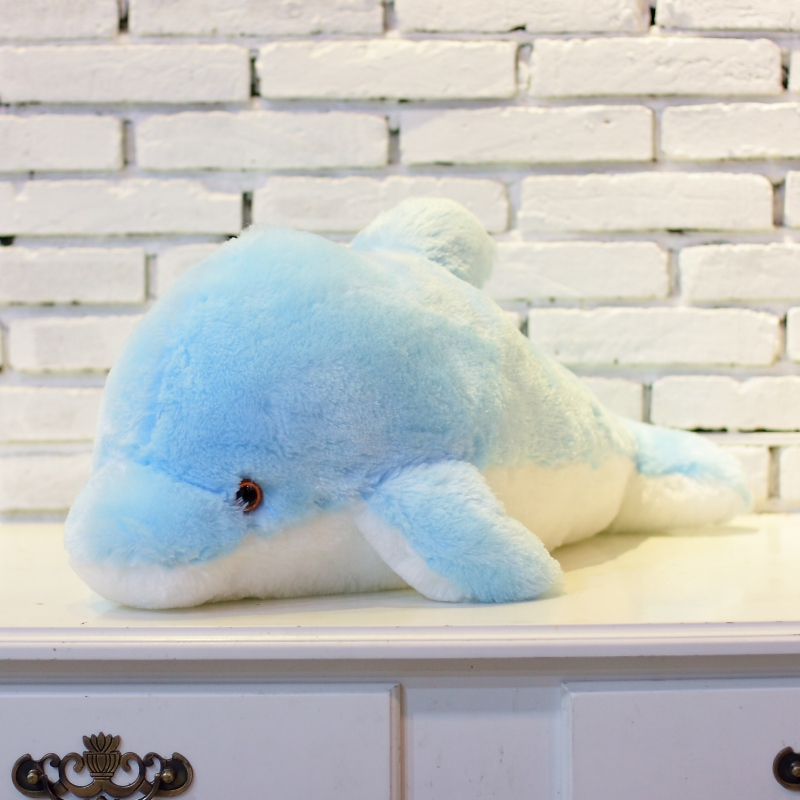 1pc 45cm Creative Luminous Plush Dolphin Doll Glödande Kudde, LED - Plysch djur - Foto 3