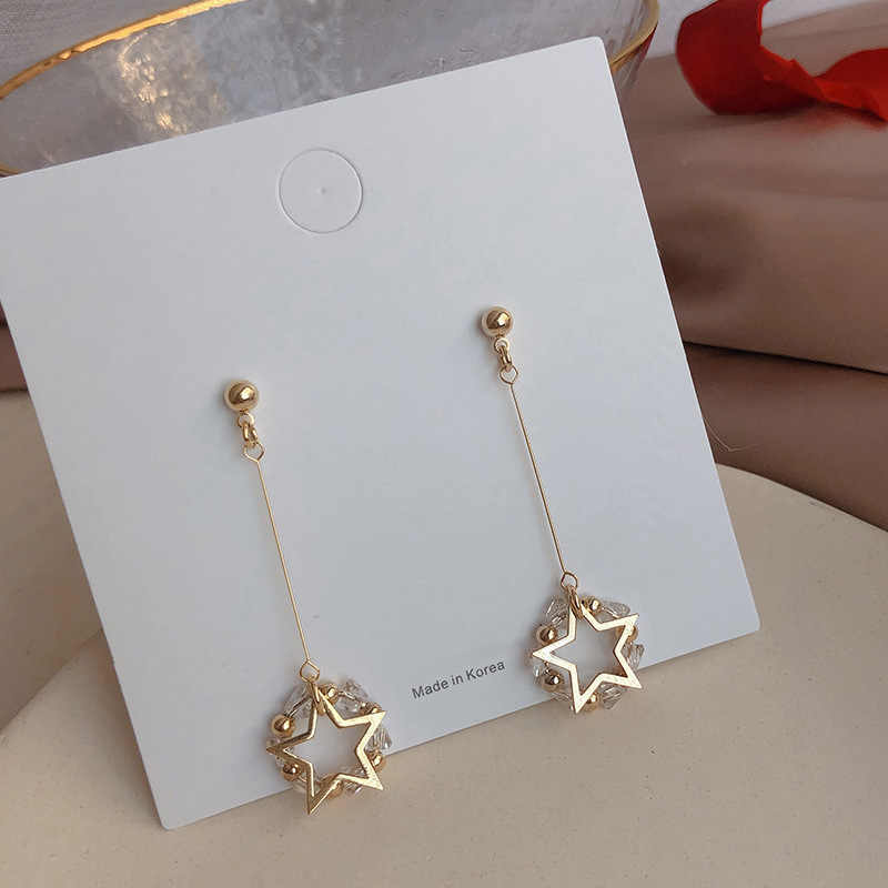 2019 New Arrival Crystal Trendy Star Women Dangle Earrings Long Crystal Simple Star Earrings Drop Earrings Jewelry Earrings