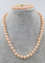 one set freshwater pearl pink necklace bracelet 8-9mm nar round FPPJ wholesale beads nature(China)