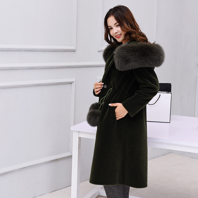100 Grand Mouton Réel D'hiver caramel Renard Nouvelles Manteau Femmes Black Cachemire 2018 De Kmetram Hh418 Fourrure Avec Laine green Manteaux q687AO