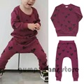 2015 New Autumn Winter Kids  Love Mask Pattern Sweatshirts Sets Jumper Bottoms For Baby Boys Girls Tops Pants