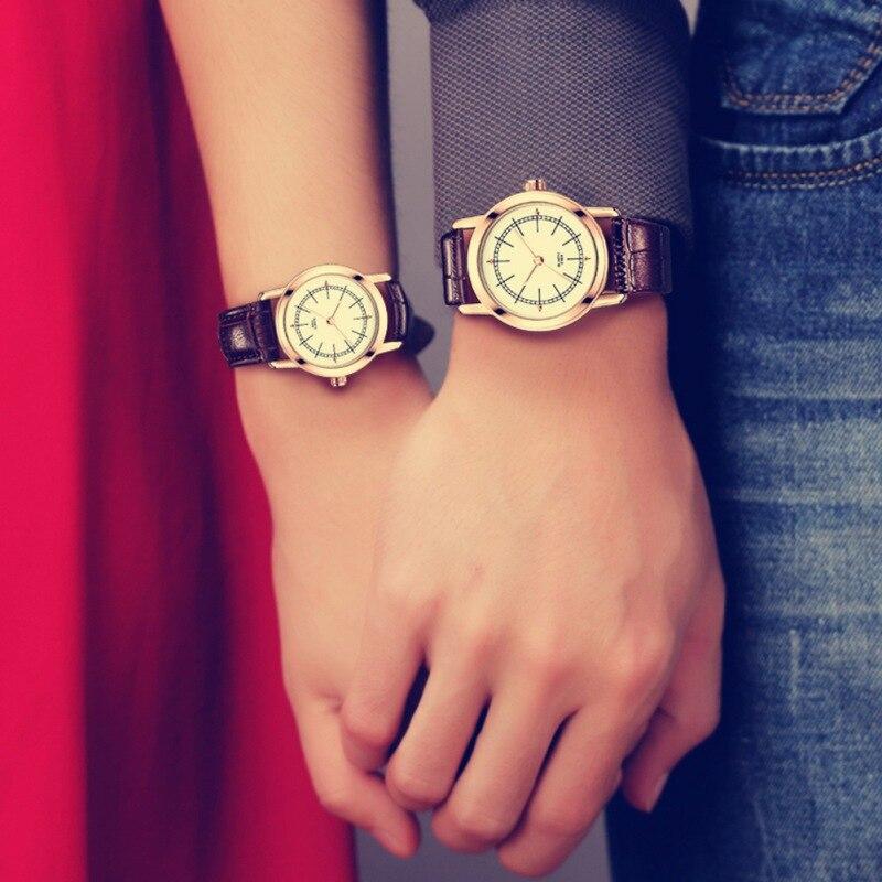 Casual Schwarz Quarzuhr Männer Frauen Leder Edelstahl Armband 50 Mt Wasserdichte Armbanduhr Geschenk