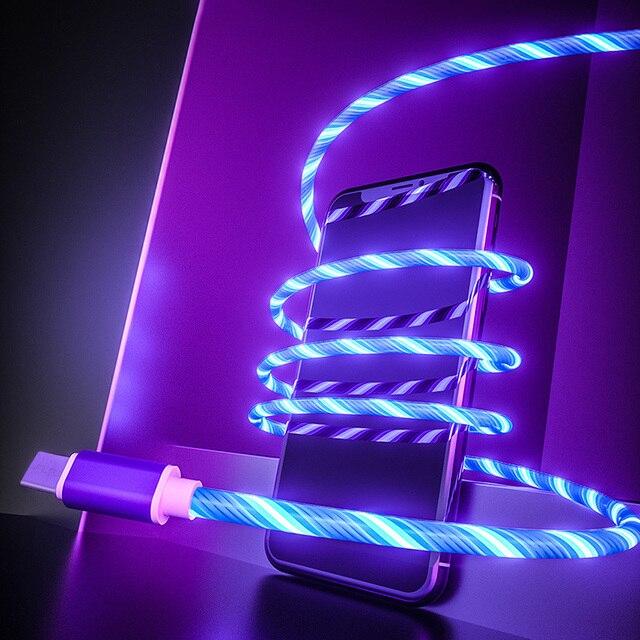 Cable brillante para carga de teléfono móvil, Cable de carga con luz LED, Micro USB tipo C para iPhone X, Samsung Galaxy S8, S9