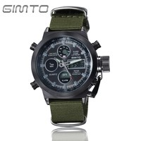 GIMTO Sport Digital Watch Men Waterproof Dual Display Mens Watches Top Brand Luxury Nylon Band Male