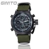 GIMTO Sport Digital Watch Men Waterproof Dual Display Mens Watches Top Brand Luxury Nylon Band Male