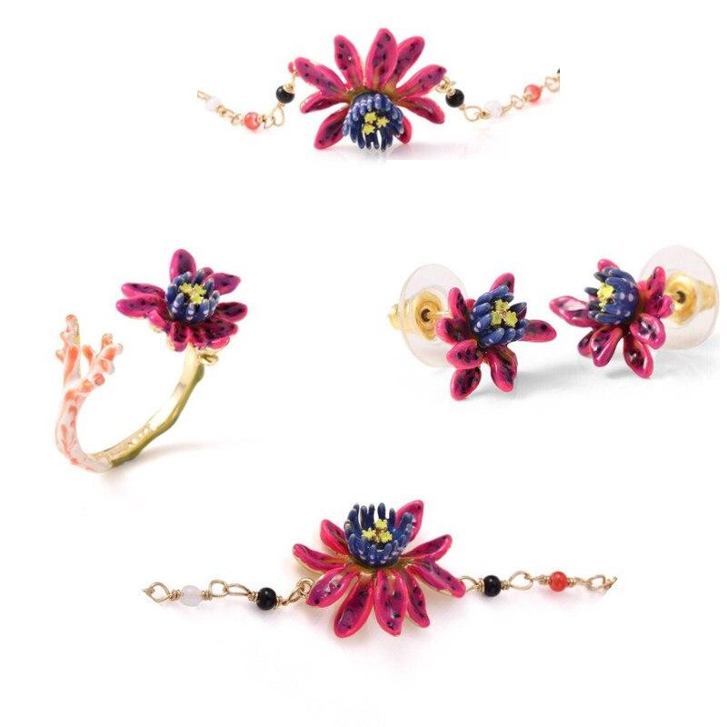 Amybaby Enamel Glaze Purple Flower Necklace No Piercing Drop Earring Adjustable Ring Bracelet