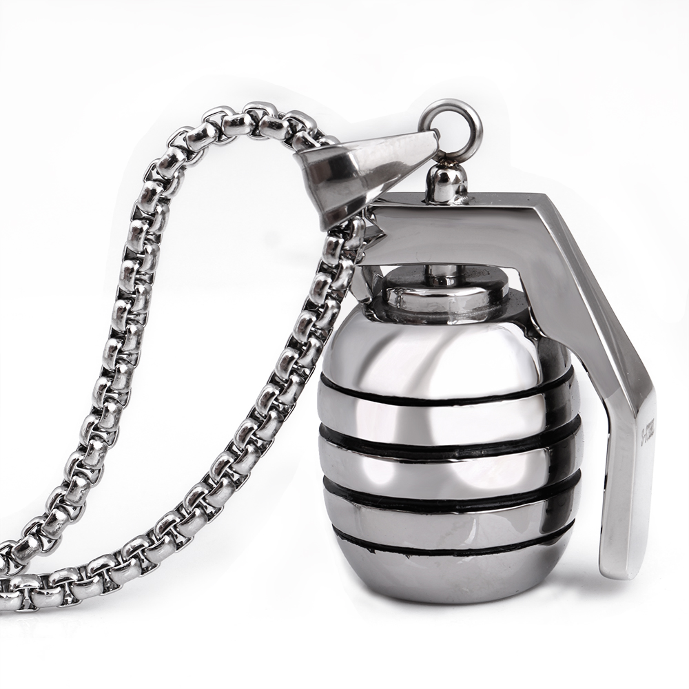 60cm Length 316L stainless steel Punk antitank grenade pendant necklace jewerly for men ...