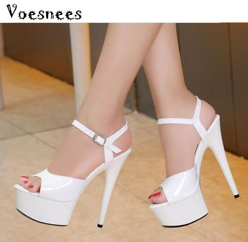 Steel Pipe Dance Women Shoes 2017 New 15cm High-heeled Sexy Fish Mouth with T-Taiwan Catwalk Models Show Car Show Female Sandals sexy temptation to 18 centimeters nightclub high heeled shoes catwalk show reception appeal colourful shoes dance shoes