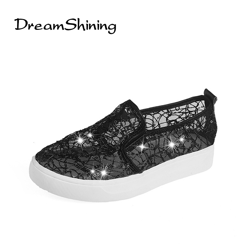 DreamShining Summer Women Shoes Casual Cutouts Lace Canvas Shoes Hollow Floral Breathable Platform Flat Shoe Sapato Feminino summer women shoes sweet cutouts lace women s flat shoes hollow breathable platform women canvas shoe casual loafers zapatos