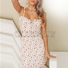 CUERLY Casual Floral Print Short Dress Women 2019 Summer Holiday Sexy Beach Chiffon Femme Lace Up Vestidos