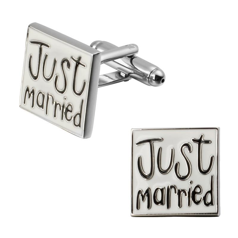 The Latest French Men's Wedding Jewellery Cufflinks Groom Wedding Just Married Cufflinks Cuff Design Letter
