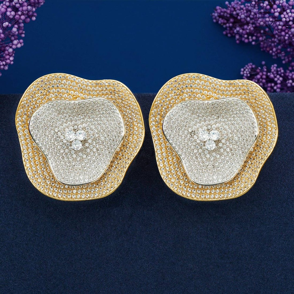 ModemAngel Gorgeous African Dubai Cubic Zirconia Setting Luxury Brand Big Flower Earring for Women Wedding Party