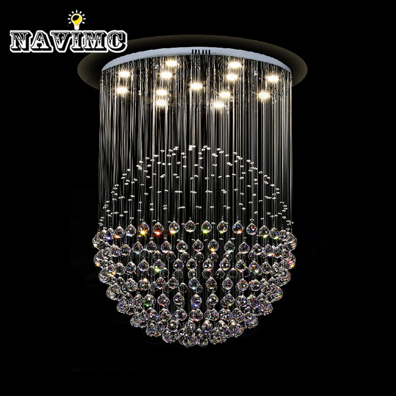 Modern LED K9 Crystal Ceiling Lights Stair Hanging Lamps Fixtures With Multi-Size Ac For Indoor Home Kingdom Lighting