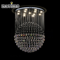 Modern LED K9 Crystal Ceiling Lights Stair Hanging Lamps Fixtures With Multi Size Ac For Indoor