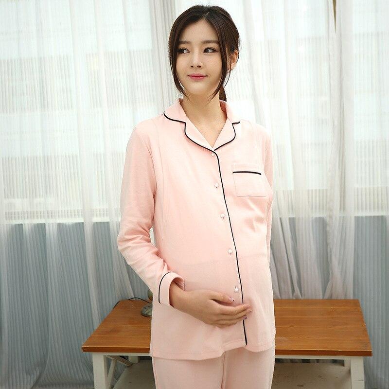 Maternity Sleepwear Nightwear Pajamas for pregnant women Cotton nursing pajamas Breast feeding clothes Set 2Pcs women Nightgown