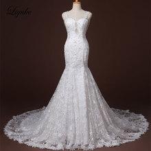 Liyuke J37 Fabulous Lace Sweetheart Mermaid Wedding Dress Court Train Appliques Beading Illusion Spaghetti Straps Bridal Dresses
