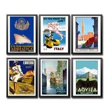 Italia tierra Aqvila Venezia Milano Monreale Roma Bérgamo Lignano Cortina Cattolica Vintage póster de viaje