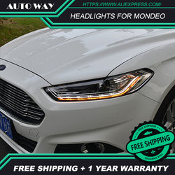Free shipping  Car styling LED HID 2013-2016 LED headlights Head Lamp case for Ford mondeo Bi-Xenon mondeo Lens low beam