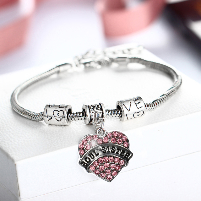 Soul Sister Love Heart Crystal Sisters Bracelet For Best Friends Gifts Women Jewelry Family