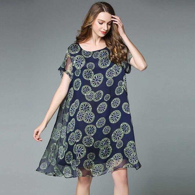 4xlwomen Chiffon Dress Plus Size Europe Woman Loose Party Summer