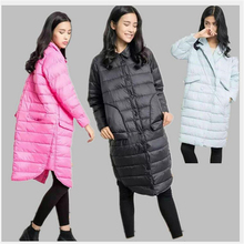 Fashion shirt collar loose longer sleeve duck down jacket thin spring and winter coat women long to knee tide outwear parka578