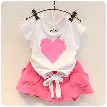 2017 New Fashion Summer Children Clothing Kids Set Girls Heart Print Lace Up Top+ Pink Skirt 2Pcs Hot Sale Infant Clothes