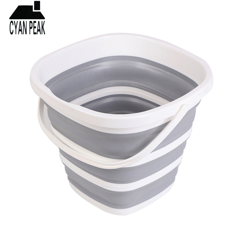 10L Silicone Bucket for Fishing Folding Collapsible Bucket Car Wash Outdoor Fishing Square Barrel Bathroom Kitchen