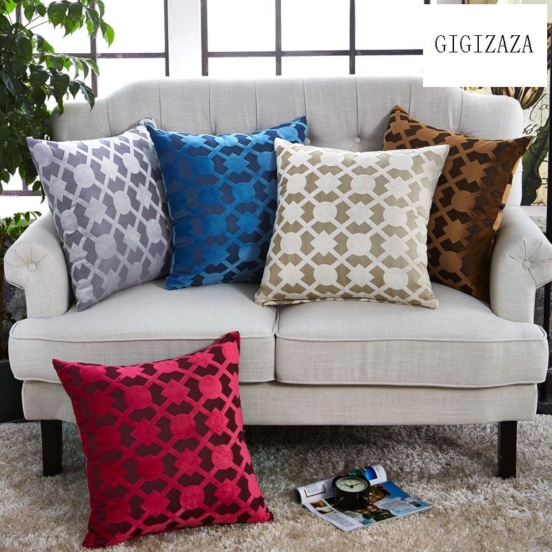 GIGIZAZA белый наволочки для Диван Home Decor бросок наволочки Suqare синий печать 45x45 ...