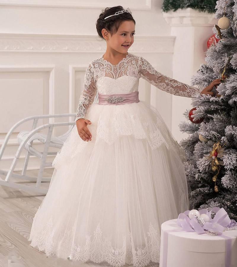 Creux à étage à manches longues dentelle filles robe enfants fille robe de princesse pour mariage anniversaire filles Costume enfants belles robes