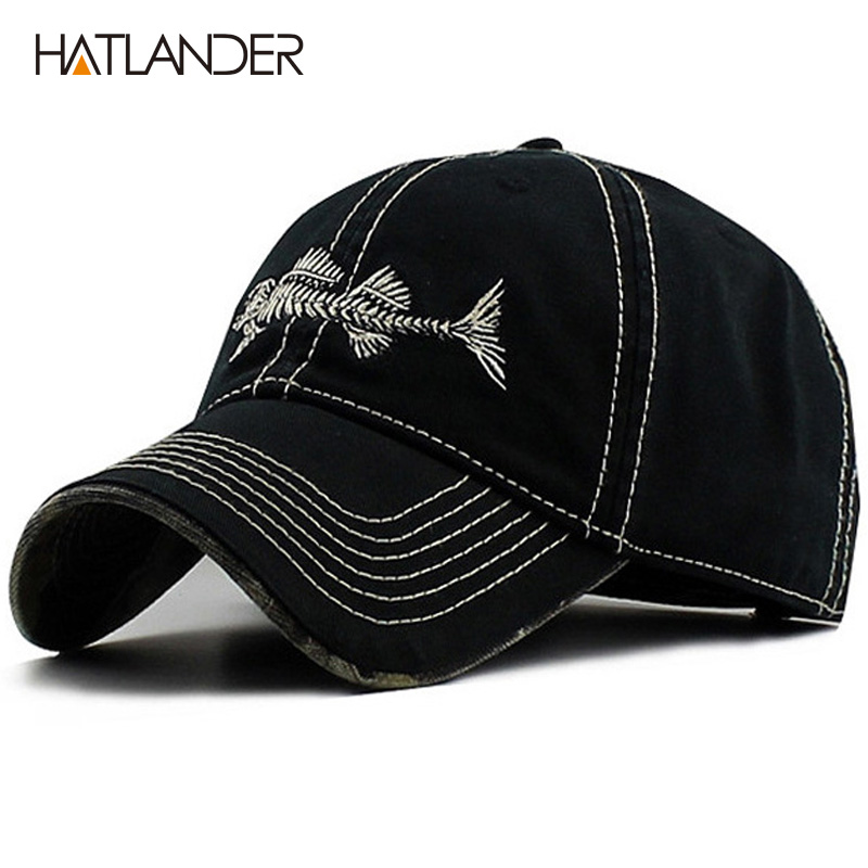 HATLANDER High quality washed cotton best cap underbill camo fishmen baseball cap adjustable good cap and for men and women