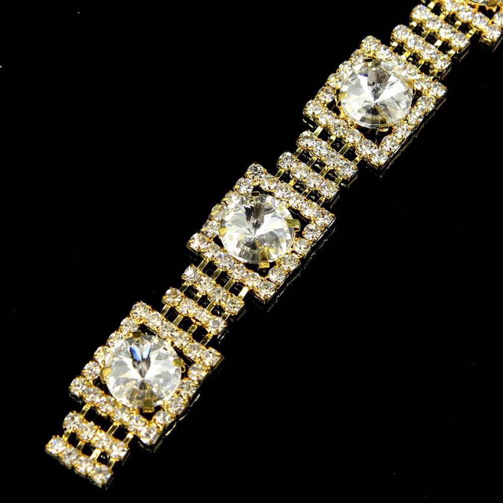 5Yards cristal strass garniture couture or argent Rose doré chaîne bricolage vêtement sacs accessoires décoratifs pierre fantaisie