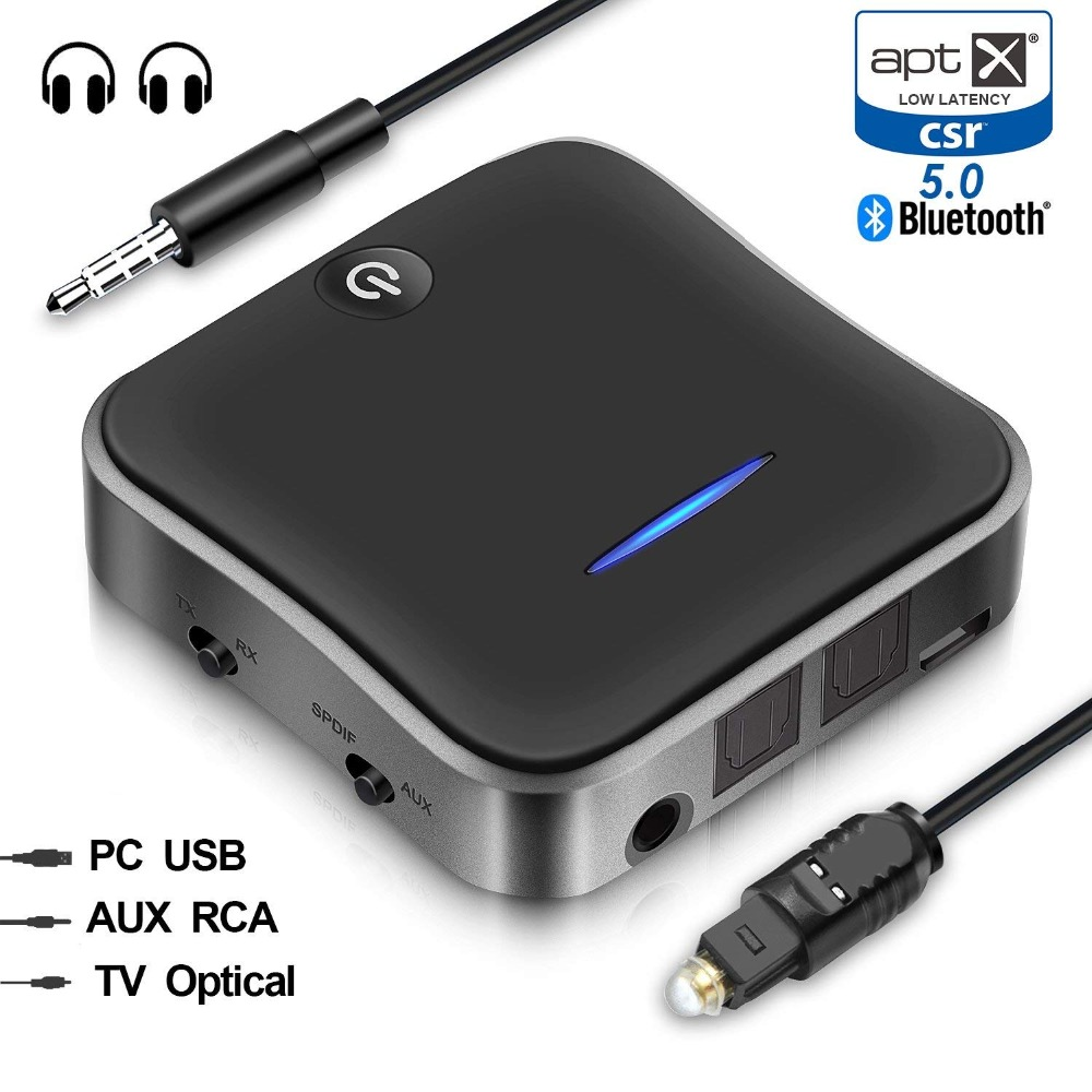 Bluetooth 5.0 Transmitter Receiver Wireless aptX HD Low Latency Audio 3.5mm Aux/RCA&Optical Adapter for TV/Headphone/Car, Pair 2Bluetooth 5.0 Transmitter Receiver Wireless aptX HD Low Latency Audio 3.5mm Aux/RCA&Optical Adapter for TV/Headphone/Car, Pair 2