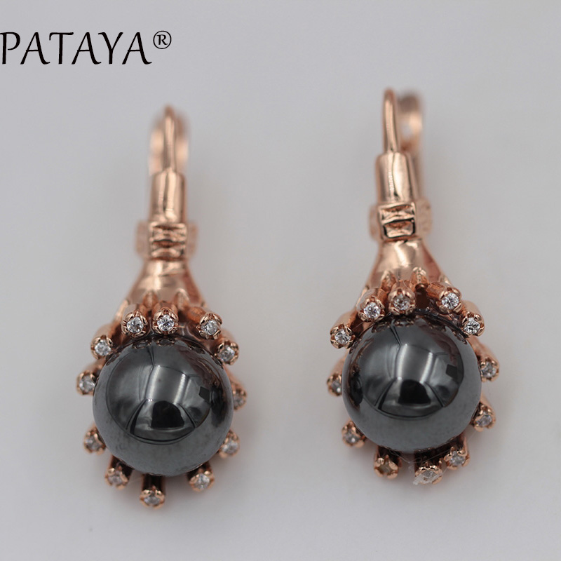 PATAYA New Ear Hook Natural Stone Wrapping Earrings 585 Rose Gold Wedding Jewelry White Natural Zircon Romantic Earrings 17g