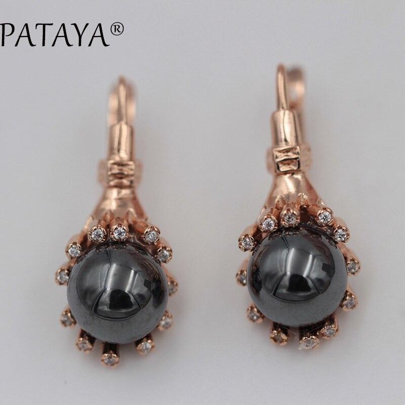 PATAYA nouvelle oreille crochet pierre naturelle enveloppant boucles d'oreilles 585 or Rose bijoux de mariage blanc naturel Zircon romantique boucles d'oreilles 17g