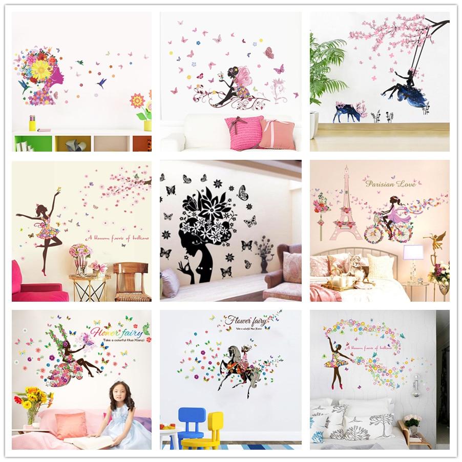 % Pvc Romantische Bloem Fairy Swing Vlinder Muurstickers Kinderkamer Muur Decor Slaapkamer Woonkamer Meisjes Kamer Decal Poster Muurschildering
