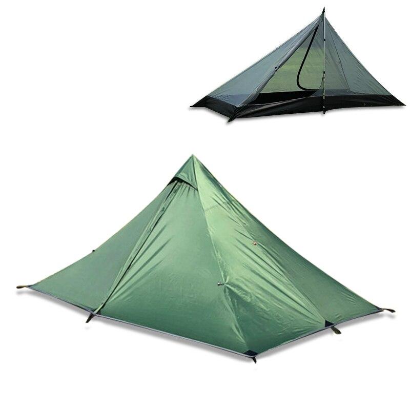 Tente extérieure ultralégère pour une seule personne imperméable à l'eau double couche Camping plage tente 4 saisons sans fil maille tente auvents pour voyage