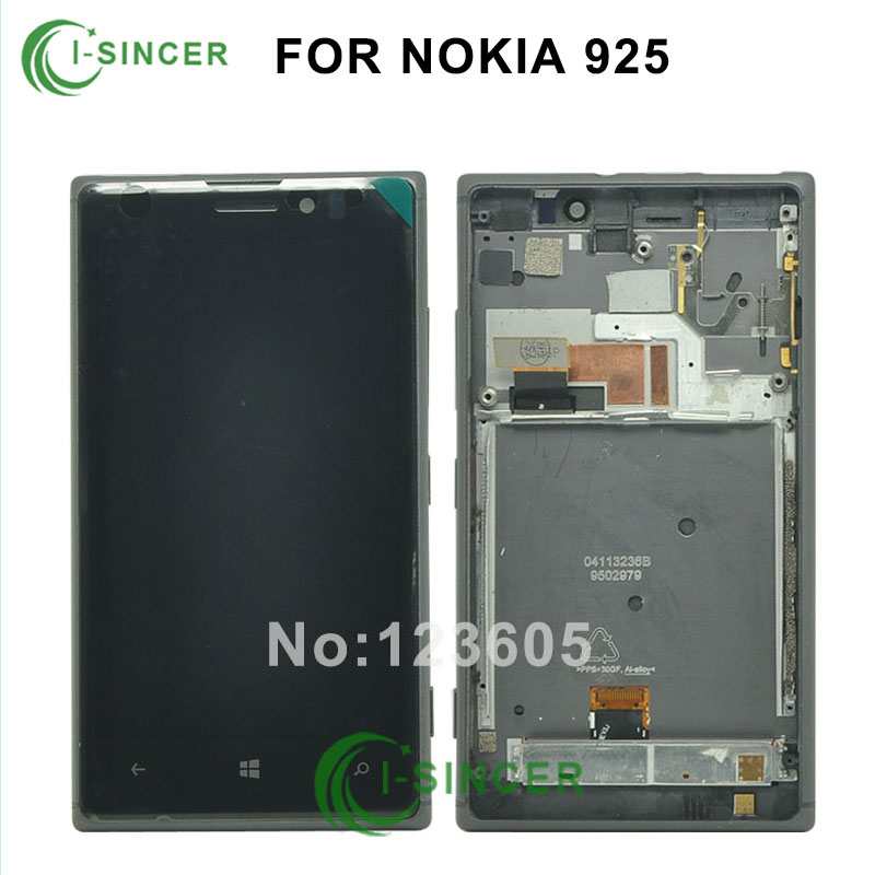 10pcs DHL For Nokia Lumia 925 LCD Display Screen touch Digitizer Assembly With frame Replacement Black Silver free shipping 5 pcs free dhl ems shipping replacement lcd display with touch screen digitizer frame for nokia lumia 730 735 lcd assembly tools