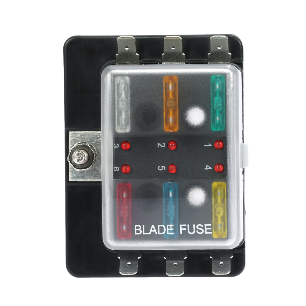 Bmw E30 Fuse Box For Sale Wiring Library 12v Motorcycle 6 Way Blade Holder With Led Warning Light Kit Car Boat Marine Trike