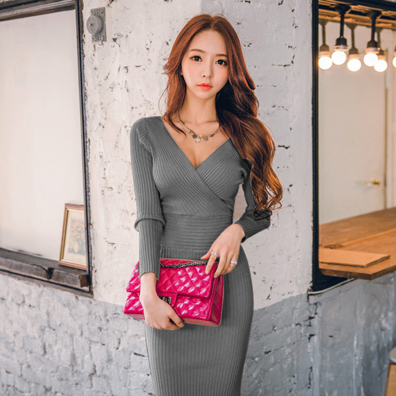 Spring Knitted Cotton Solid Skinny V-neck Sweater Dresses Casual Women Slim Hip Packaged Soft Dress Vestidos Femme High Quality